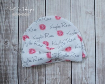 Personalized baby girl rose bow name hat: baby and toddler personalized name hat organic cotton knit baby shower gift