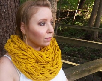 Mustard Scarf - Chunky Knit Scarf - Yellow Infinity Scarf - Chunky Infinity Scarf - Yellow Arm Knit Scarf - Mustard Yellow Scarf - Oversized