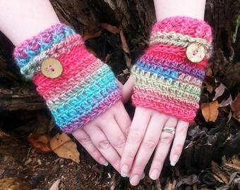 Crochet Fingerless Gloves - Rainbow Fingerless Gloves