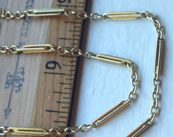 Antique Solid 14K Yellow Gold Watch Chain Choker Necklace, Watch Fob Locket Chain, Bar Link Chain