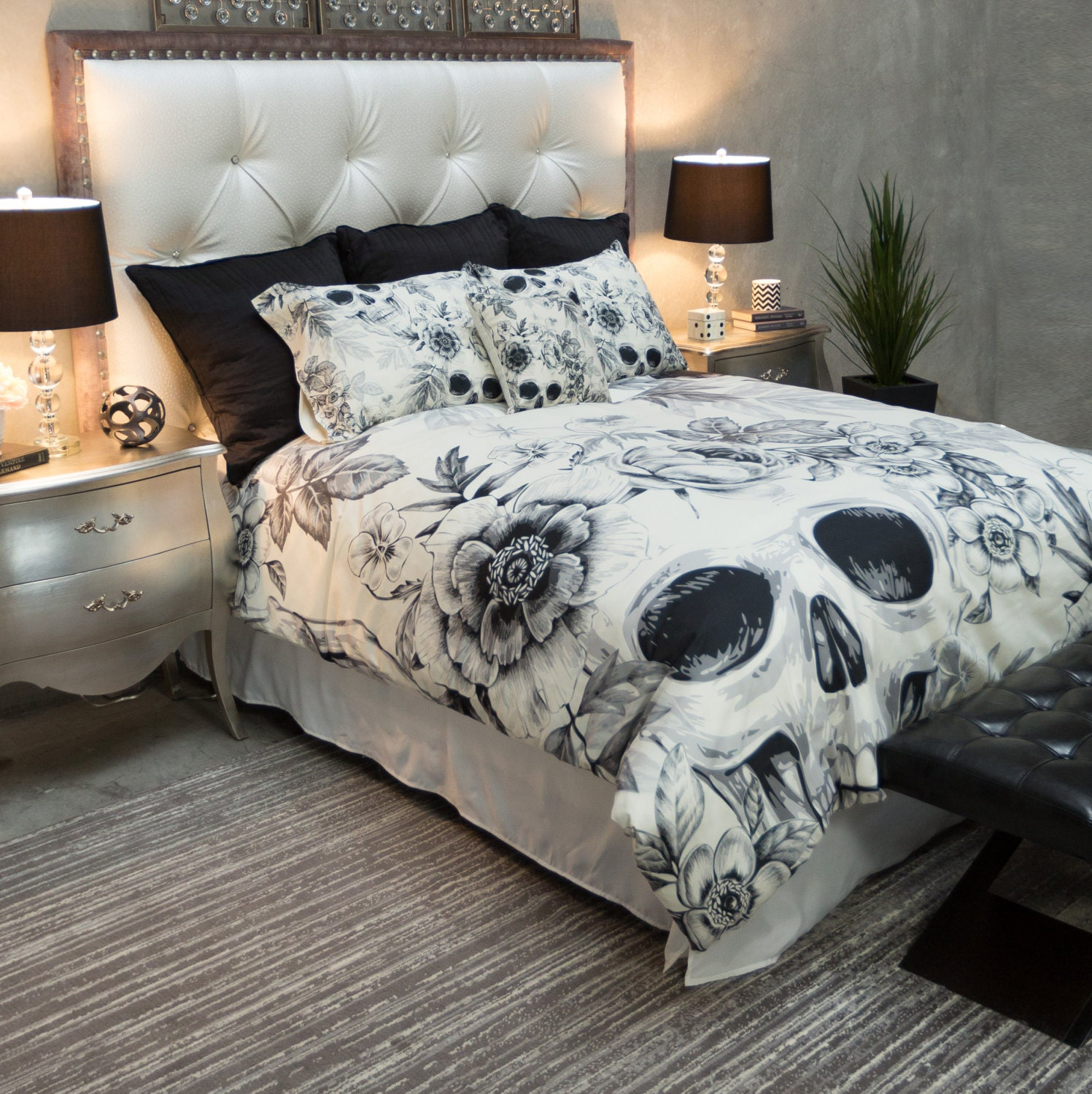 skull bedroom decor featherweight skull bedding black floral printed by inkandrags 13167