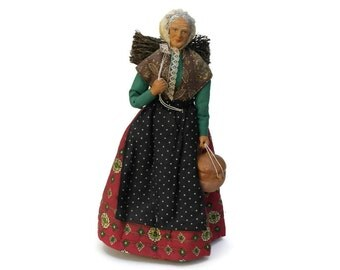 French Santon Doll. Provencal Terracotta Figurine with Wood Bundle and Cooking Pot. Old Lady Doll. French Traditional Folk Art Doll.