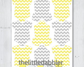 Printable Pink Grey Chevron Baby Onesie Tags -- PDF & PNG -- Baby Shower One-Piece Favor Thank You Gift Tags