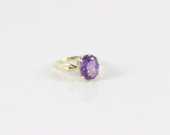 14k Yellow Gold Amethyst Ring Size 5 3/4