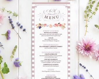 French Country Wedding Menus for a Garden Wedding - Floral & Vintage Reception Menus - Amelie