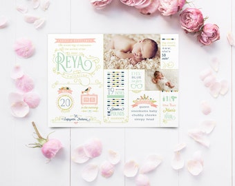 Birth Announcements - Baby Girl Tribal Chic Woodland Infographic Newborn Stats Announcements - Mint & Coral - Printable or Printed