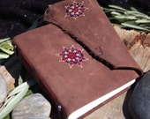 Funky Brown Leather Journal / Notebook with Recycled Buttons
