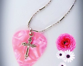 Guitar Pick Necklace, Silver Cross, Pink Pearl, Genuine guitar pick, Pearlised Guitar Pick
