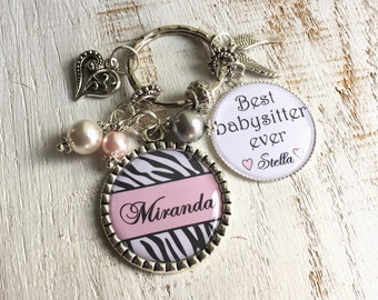 Babysitter Gift, Nanny Gift Ideas PERSONALIZED Keychain or Necklace, Day Care Gift, Christmas gifts for Christmas, New Year gift for Nanny