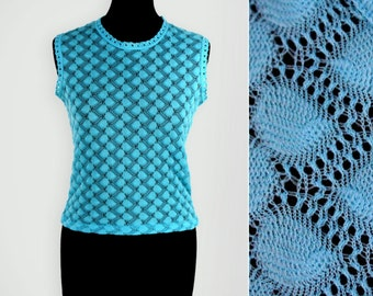 1970s Blue Lace Knit Sleeveless Top