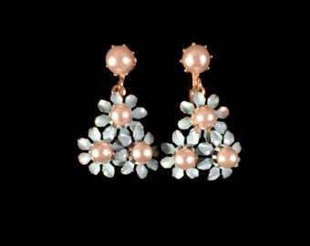 Vintage Faux Pearl and Blue Enamel Flower Earrings - Vintage Twist Back Earrings