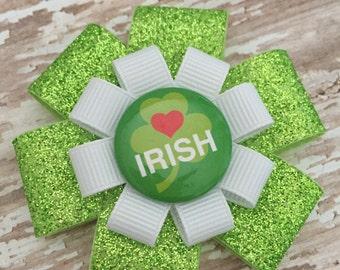 St. Patrick's Day Hair Bow - Heart Irish Shamrock - Shamrock Glitter Hair Bow Clip - St. Patty's Hair Accessory - Green Shamrock Hair Bow