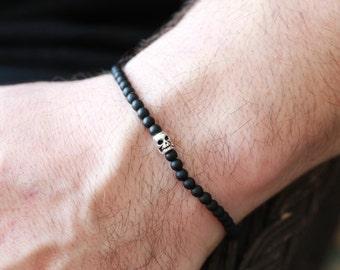 4MM Mens SILVER SKULL Bracelet - Skull Bracelet - Mens Black Onyx Stone Skull Bracelet