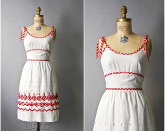 1960's Picnic Dress • Gingham Sun Dress • 60's Red and White Dress