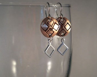 Hand Stamped Copper Earrings with Sterling Silver Ear Wires