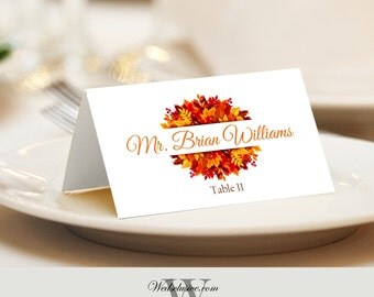 Wedding Place Cards, Fall Leaves, Autumn Weddings, Tented or Flat - Set of 12