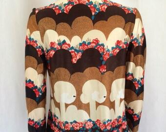 1970s Rose & Dove Print Lightweight Jacket sz S