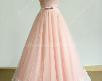 Flowy Blush A line lace wedding dress with sweetheart neckline