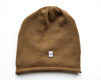 Merino knit cap, camel without cuff
