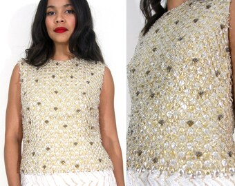 Vintage 50s Beaded Jeweled Crystal White Gold Shell Top Blouse Holiday Party Glam
