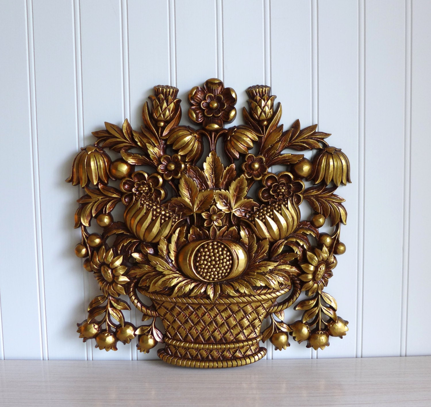 Syroco Wall Hanging Antique Gold Flower Bouquet 1960 S
