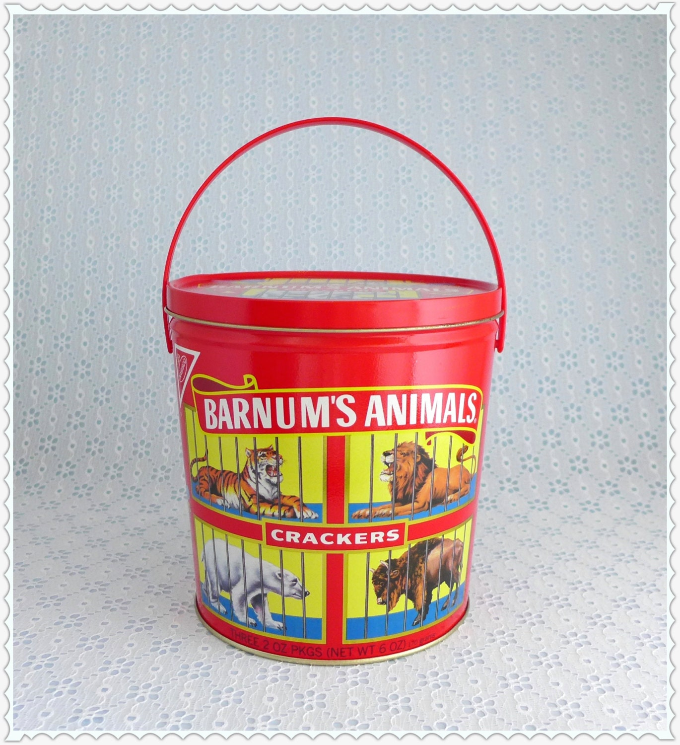 Colorful Kitchen Canisters Barnum S Animals Tin Vintage Cookie Tin Nabisco