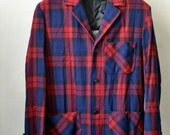 Vintage MERRILL Woolens Red/Blue Plaid Unstructured 49er Forty Niner Shirt Jacket Sport Coat Blazer Self Lining Size S/M Small/Medium