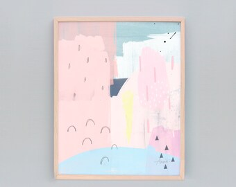Giclee Print, Pink Minimalist Art, Pink Abstract Art Print, Contemporary Art, Modern Wall Art, Pink, Light Blue, Yellow, Bright Coloured Art