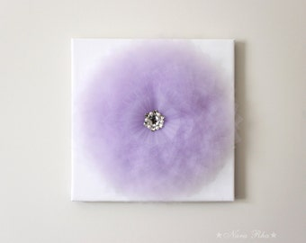 Nursery Art, Flower Decor, Lavender Flower, Wall Hanging, 3D Flower Art, Mauve Decor, Purple and White, Flower Canvas, 14X14