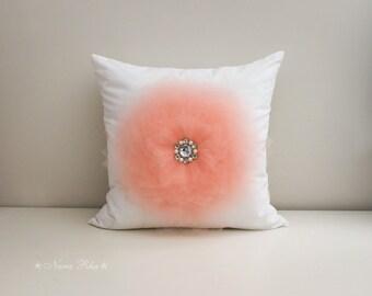 16x16 Pillow Covers Peach Flower Pillow Cover Decorative pillow Accent Pillow Throw Pillow Toss Pillow Handmade Pillow Case