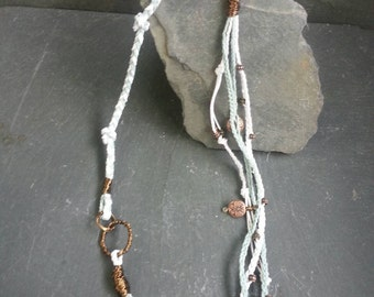 Butterfly Multi Strand Necklace with Light Blue and White Hemp, Metal Beads and Copper Accents