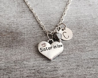 CUSTOM NECKLACE, Silver Necklace, Sister in law Heart necklace, Sister in law gift, Crystal Heart, Sister in law Jewelry, Sister Gift