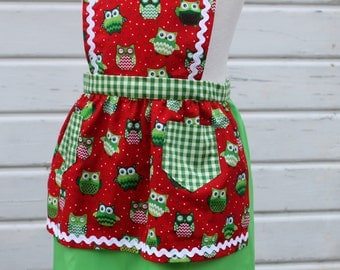 Girls' Full Apron in Bright Red & Green and White Check with Happy Christmas Owls