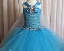 Queen Elsa Tutu Dress and Headband- Christmas, Pageant, Baby Shower, Wedding, Photo Prop, Satin, Sparkly, Blue, Snowflake, Snow, Baby