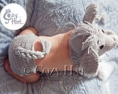 Elephant Hat & Diaper Cover Set. MADE to ORDER.