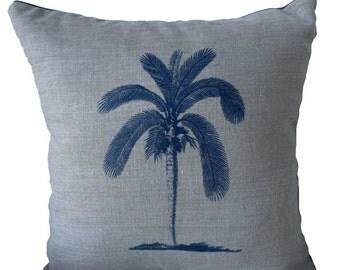 Palmtree handscreenprinted onto natural linen cushion