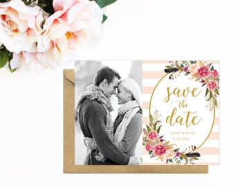 Striped Save The Date, Pink Save The Date with Watercolor Flowers, Photo Save The Date