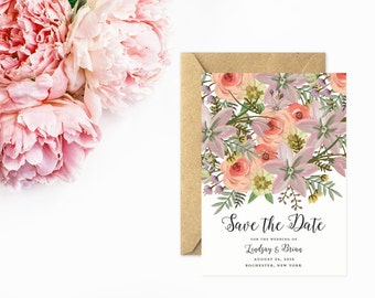 Save The Date, Hand Painted Flower Save the Date, Unique Save The Date in Pink
