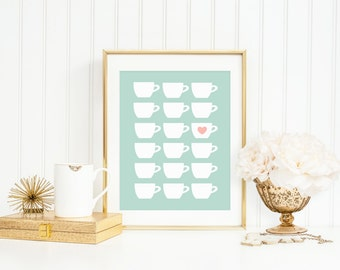 Tea Print, Teacup Art Print, Modern Teacup Silhouettes in Mint and Pink, Teacup Gift