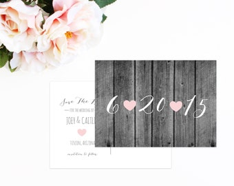 Save The Date Postcard, Rustic Wood Save The Date,  Pink Hearts, Wedding Postcard
