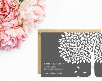 Save The Date, Wedding Tree Save The Date Cards, Tree Wedding Invitations, Pink and Grey