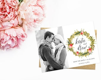 Photo Save The Date, Floral Wreath Save The Date Cards, Vintage Black and White Photo Card