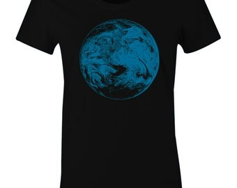 Women's Planet Earth T Shirt - Earth from Outer Space Print T Shirt - American Apparel Women's Poly Cotton T-Shirt - Blue Ink - Item 2408