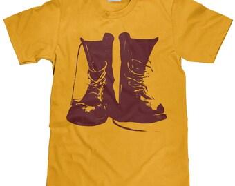 Army Boot T Shirt - Combat Boot Tee Shirt  - Maroon Ink- Item 2376