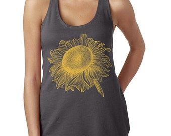 Sunflower Flowy Tank Top - Women's Sunflower Tank Top - Next Level Ladies Poly Cotton Racerback Tank - Item 2071