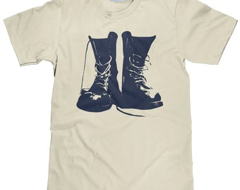 Hiking Boots Shirt - TShirt for Hikers - Army Boot T Shirt - Combat Boot Tee Shirt - Item 2377