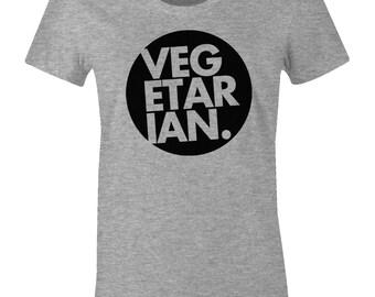 Vegetarian Tee Shirt - Veggie Eater Tee - American Apparel Womens Poly Cotton T-Shirt - Item 2224