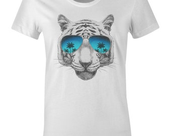 White Tiger Face Women's T Shirt - Tropical Tiger in Sunglasses - American Apparel Women's Poly Cotton T-Shirt - Item 2178