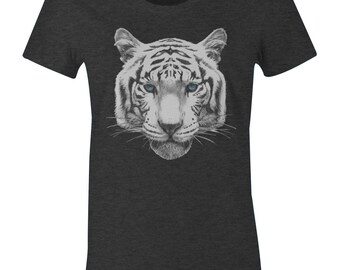 White Tiger With Blue Eyes - Tiger T Shirt - American Apparel Womens Poly Cotton T-Shirt - Item 2177