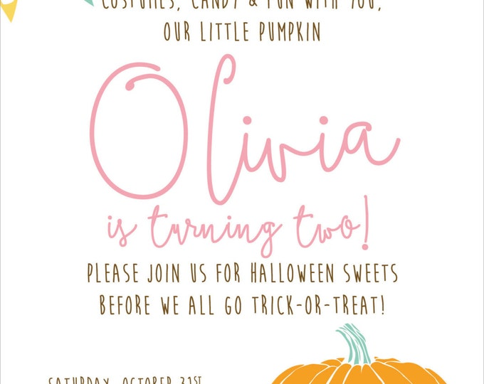 Sweet Halloween Pumpkin | Birthday Party Invitation